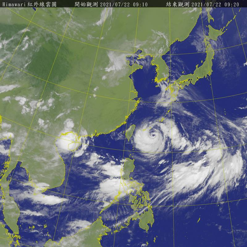 氣象專家吳德榮指出,「烟花」下週日遠離台灣後,將引進西南氣流,西南部屆時將有明顯雨勢,有「致災」可能性。(圖擷取自中央氣象局)