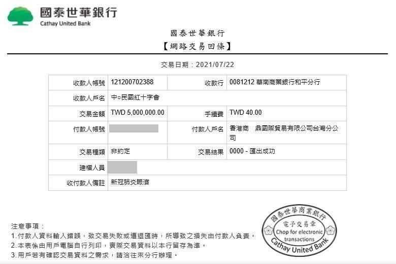 孫文學校今日指出,林瑞陽、張庭夫婦捐疫苗被拒,改捐「中華民國紅十字會」500萬元,用於新冠病毒賑濟工作。(孫文學校提供)