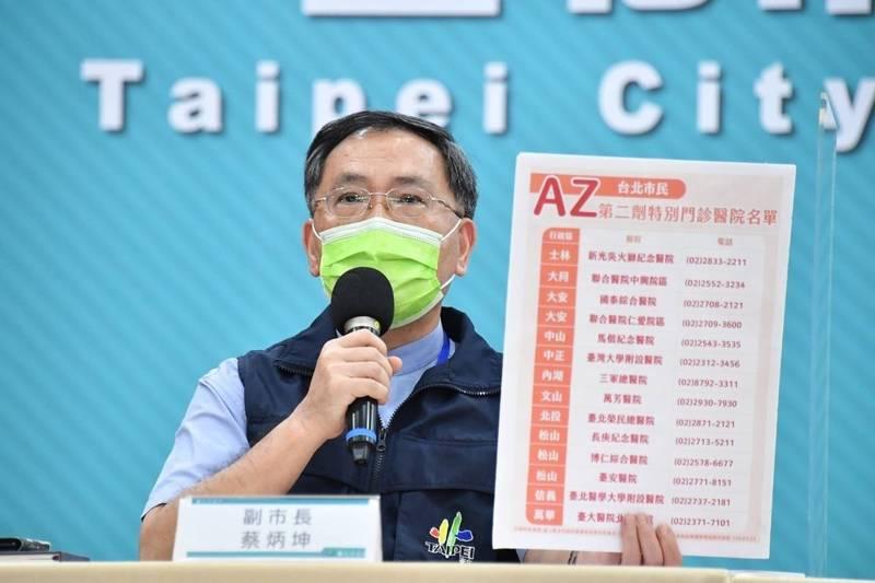 北市副市長蔡炳坤說明,AZ疫苗間隔已達10至12週可至14家指定醫院特別門診預約接種,而莫德納疫苗則由18家醫院針對間隔滿28天的第一至三類對象及孕婦、機組人員接種第二劑疫苗。(台北市政府提供)