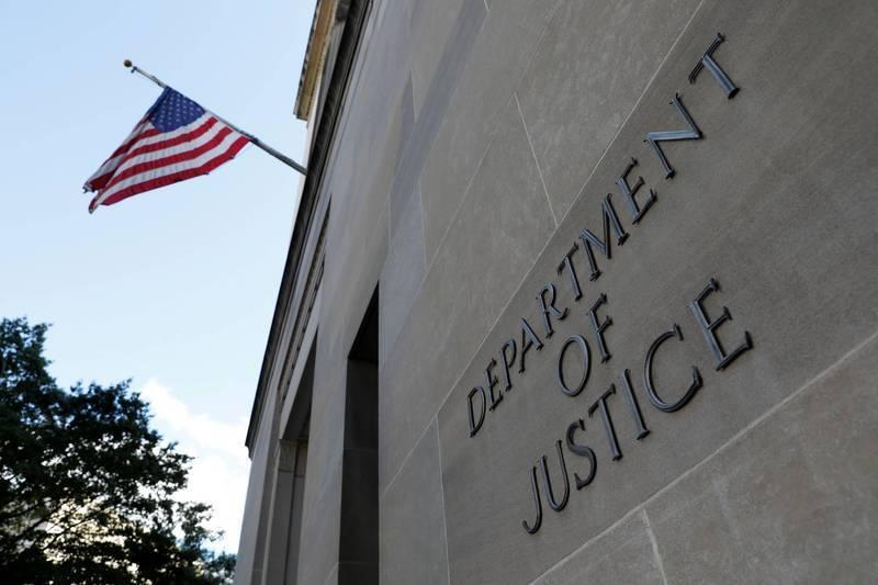 圖為美國司法部。(路透)