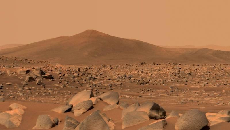 NASA週四宣布,毅力號將要採集火星首個岩石樣本,探尋是否有火星生命存在過。圖為毅力號拍攝的火星地表畫面(法新社)