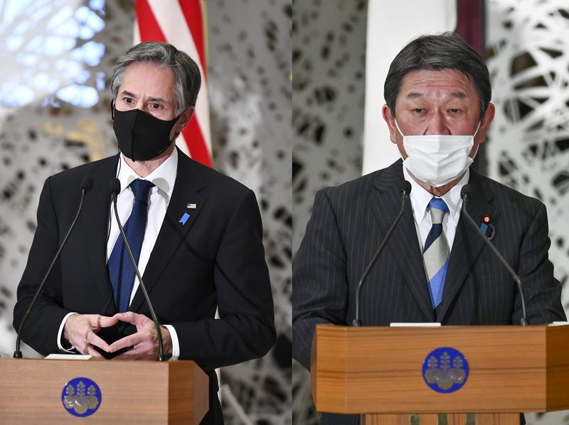 美國國務卿布林肯(左)今致電日本外相茂木敏充,雙方通話近40分鐘。(歐新社資料照,本報合成)
