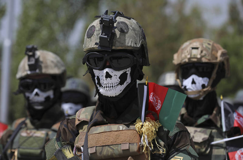 神學士近日宣稱握有大部分領土,阿富汗政府今日則出面駁斥了此說法。圖為阿富汗政府軍的特種部隊。(美聯社)