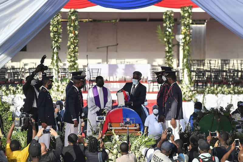 海地今日為總統摩依士舉辦葬禮。(美聯社)