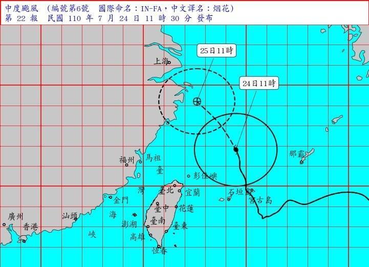 烟花颱風海上颱風警報11點30分解除,氣象局表示,未來一週中南部要留意西南風帶來降雨。(圖:取自氣象局網站)
