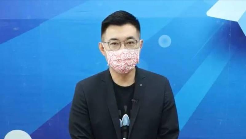 國民黨主席江啟臣今日質疑衛福部食藥署長角色錯亂,「你到底是把關者,還是廠商的公關長?」(國民黨提供)