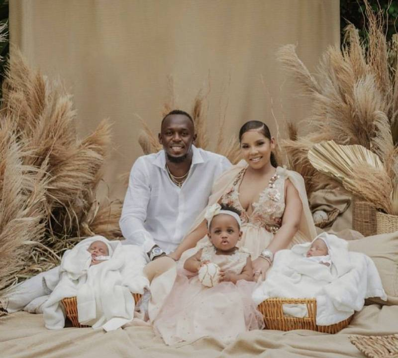「牙買加閃電」波爾特與女友共有1個2歲女兒與一對雙胞胎,近日忙於照顧3個小孩,也令他直呼:「顧小孩比破世界紀錄更難!」(圖擷取自IG_usainbolt)