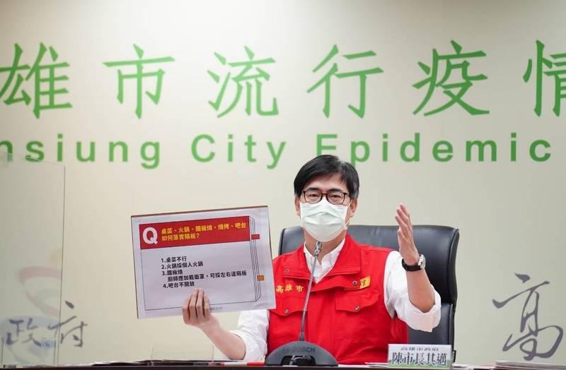 高雄市長陳其邁說明防疫警戒降級後相關規範。(市府提供)