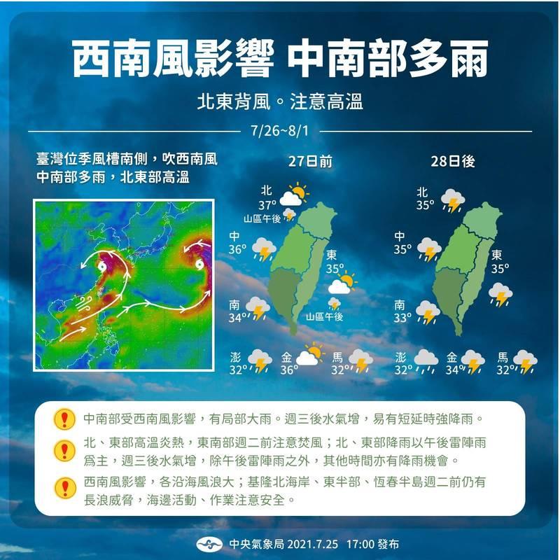 氣象局今日在臉書「報天氣 - 中央氣象局」分享未來一週天氣。(擷取自「報天氣 - 中央氣象局」)