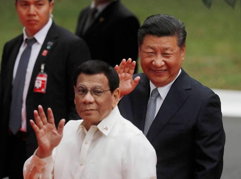 中國國家主席習近平2018年11月訪問菲律賓,與菲國總統杜特蒂在馬尼拉舉行會談。(路透檔案照)