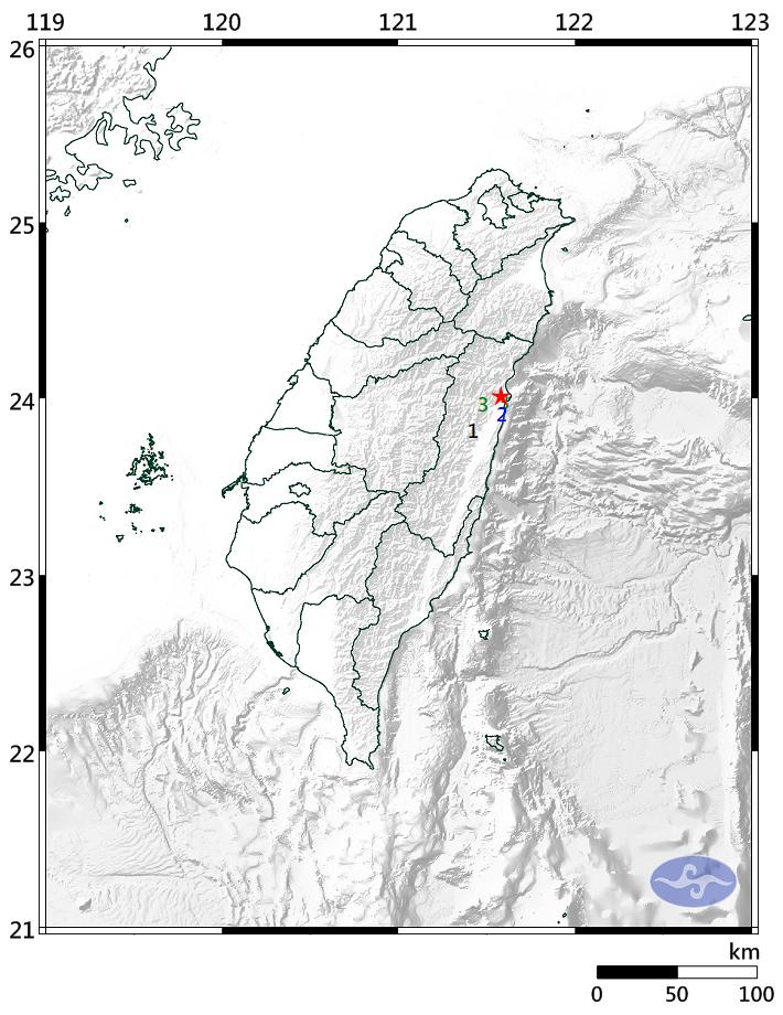 花蓮今晚7點接連發生2地震,第一震在今晚7點39分發生,芮氏規模:3.5,最大震度在花蓮縣3級。(圖擷取自中央氣象局)