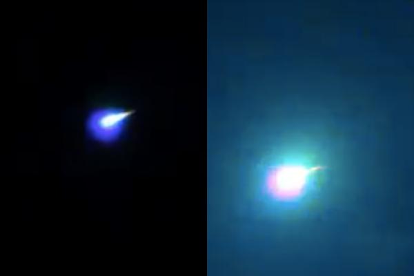 挪威南部天空,於本月25日凌晨1點,當地出現1顆「巨大流星」劃過天際,猶如白天般照亮整片夜空,不少民眾都聽見轟隆隆的巨響,時間長達5秒之久。(圖擷取自推特)