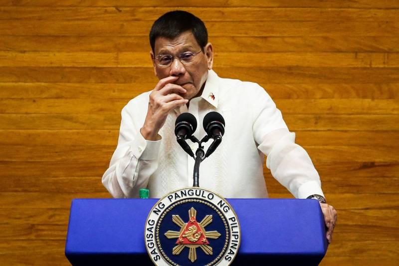 菲律賓總統杜特蒂今天發表任內最後一次,創紀錄長達2小時45分的國情咨文。(歐新社)