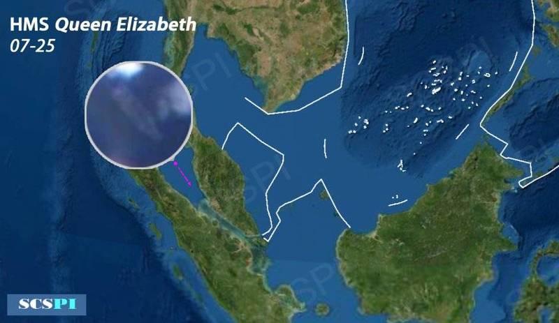 最新衛星照顯示,英國皇家海軍「伊莉莎白女王號」航艦,昨中午出現在麻六甲海峽,預估已進入南海。(圖擷自SCS Probing Initiative推特)