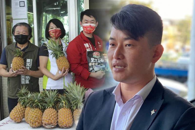 台灣基進立委陳柏惟號召善心企業及民間團體挺農民和弱勢民眾。(本報合成)