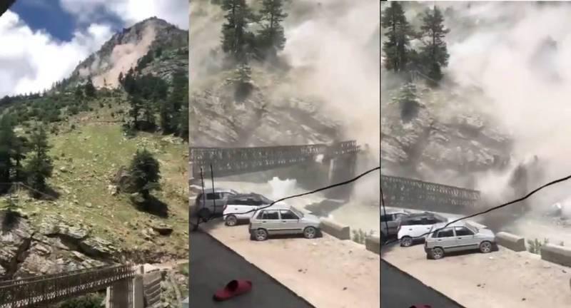印度北部的喜馬偕爾邦,近日傳出巨石砸毀當地一座橋樑,並造成9名遊客死亡,(圖擷自推特)