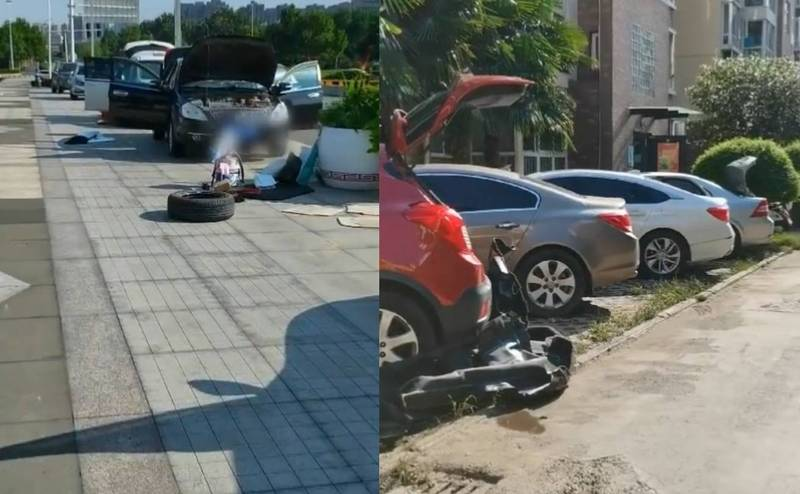 鄭州街上隨處可見民眾將車內部座椅拆開、將車門及後車箱全部打開的「曬車」。(擷取自微博)