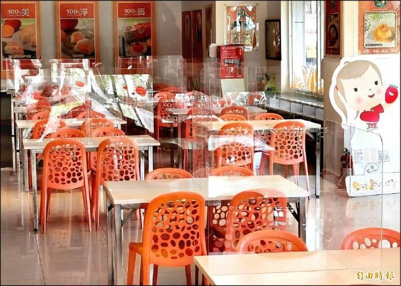 疫情警戒降為2級,大型宴客餐廳業者認為採用隔板或梅花座,增加成本負擔,也很難吸引顧客上門。(資料照)