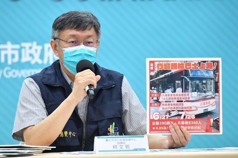 台北市7家醫院提供免費PCR篩檢,市長柯文哲說,考量醫療成本,將再評估一週,若每日篩檢的陽性數持續為0,研議撤除。(台北市政府提供)