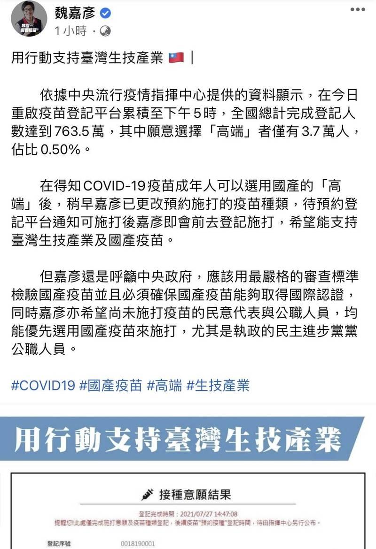 魏嘉彥晚間將接種意願結果,截圖放上官方臉書寫道,「支持台灣生技產業及國產疫苗」。(圖擷取自魏嘉彥臉書)