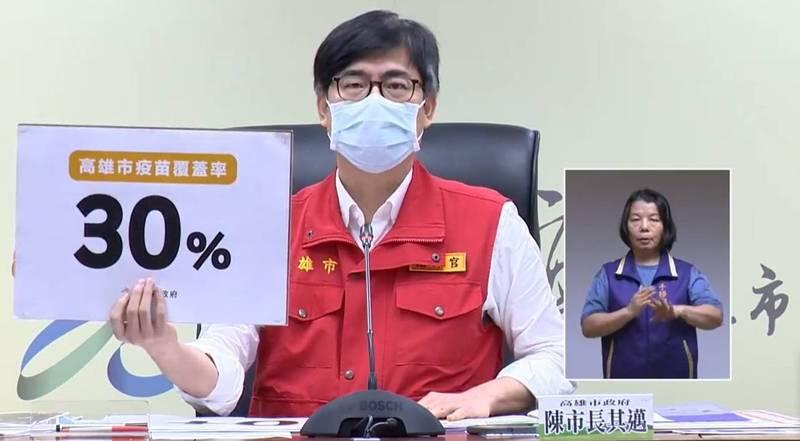 高雄市長陳其邁呼籲7大類從業人員盡速完成快篩,才得以復業。(圖翻攝自臉書粉專「陳其邁 Chen Chi-Mai」直播影片)