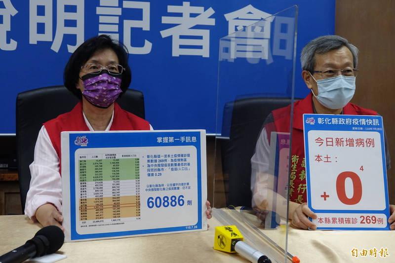 彰化縣長王惠美(圖左)喊出同島一命,彰化縣的配送疫苗與人口數比例,如果要達到全國平均值,就還需要6萬多劑。(記者劉曉欣攝)