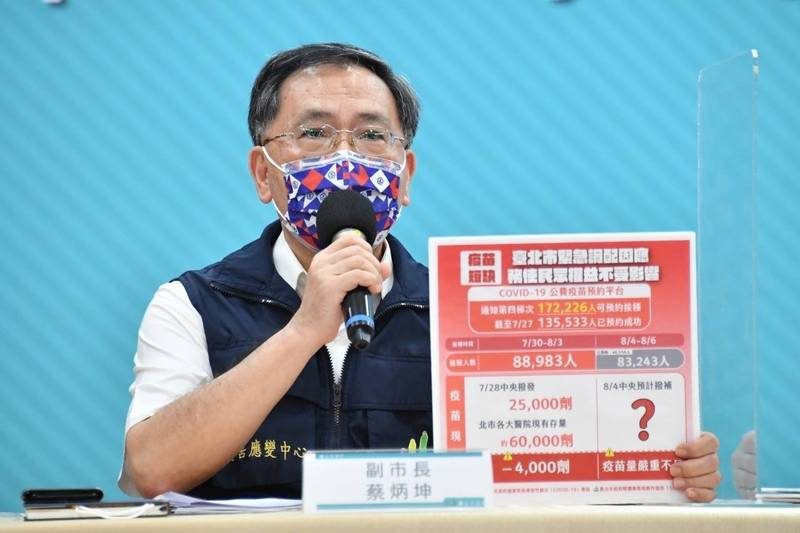 台北市副市長蔡炳坤說,目前台北市只剩6萬多劑疫苗,已不足支應,緊急與中央協商,將分兩梯次完成接種。(台北市政府提供)