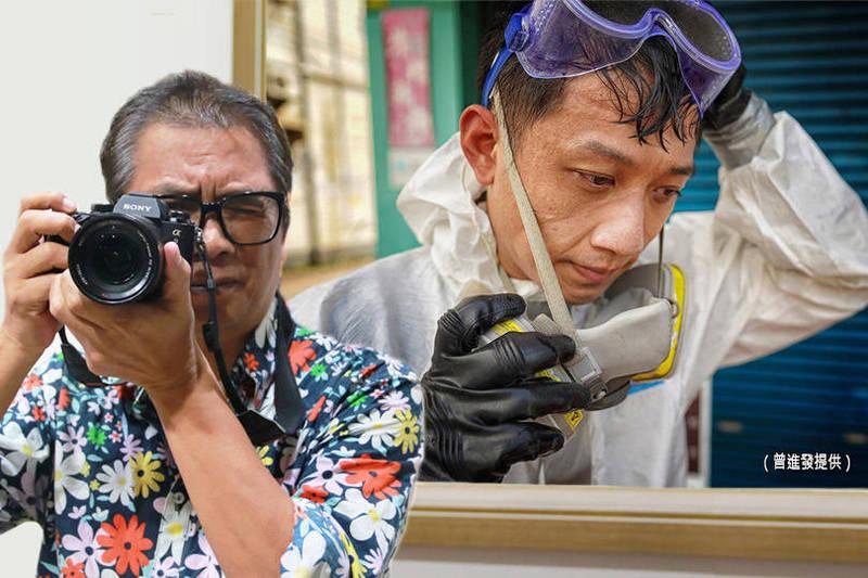 拍下化學兵抗疫身影(右圖),曾進發(左)入圍攝影奧斯卡露西獎決賽5傑。(曾進發提供、資料照;本報合成)