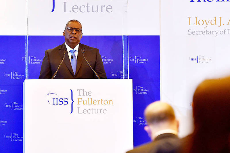 US Secretary of Defense Lloyd Austin speaks at the International Institute for Strategic Studies Fullerton Lecture in Singapore on Tuesday. Photo: Reuters