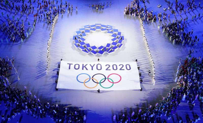 東京奧運盛事開幕,但疫情威脅仍然持續。圖為奧運示意圖。(路透)