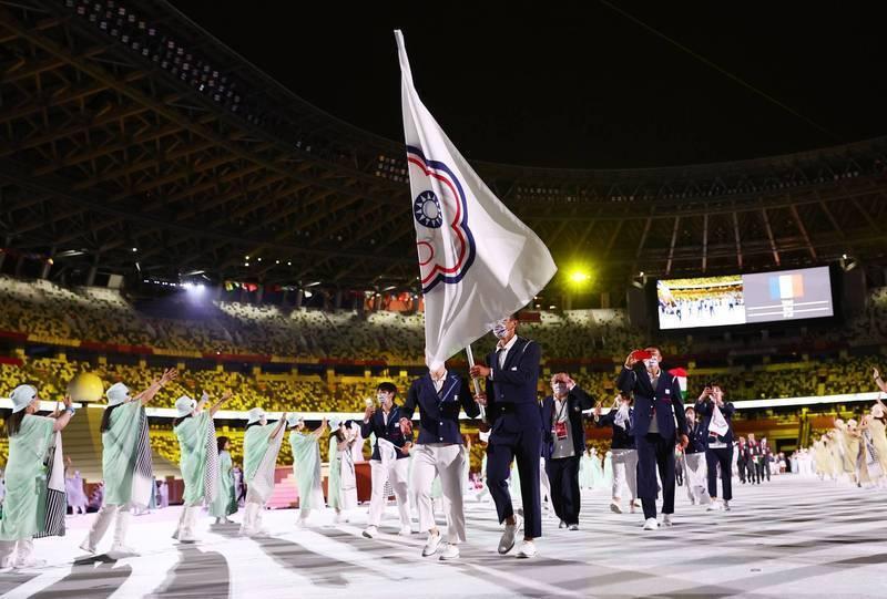 圖為奧運開幕式台灣國手進場畫面。(路透)