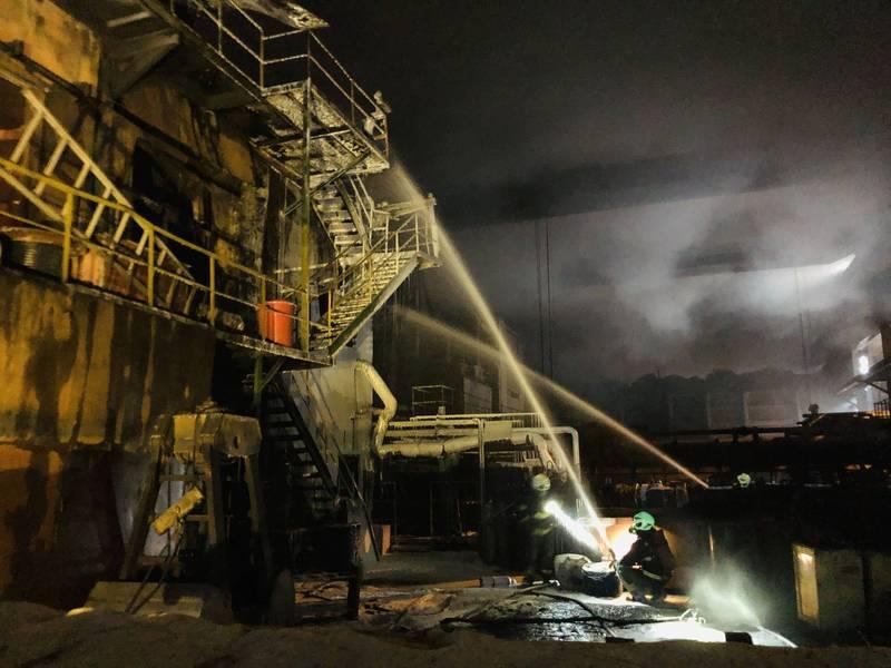 慶欣欣鋼鐵日前發生大火,造成嚴重空污還遭開罰。(彰化縣消防局提供)
