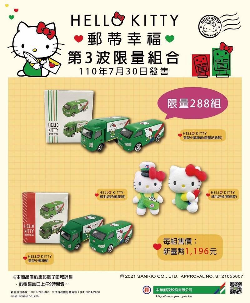 「HELLO KITTY第3波限量組合」限量288組,每人限購2組。(中華郵政提供)