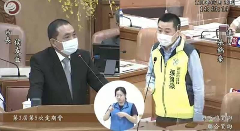 張錦豪表示,在疫情期間可以看到副市長劉和然擔任黑臉,其實就是要讓侯友宜布局總統之路。(截取自新北市議會)