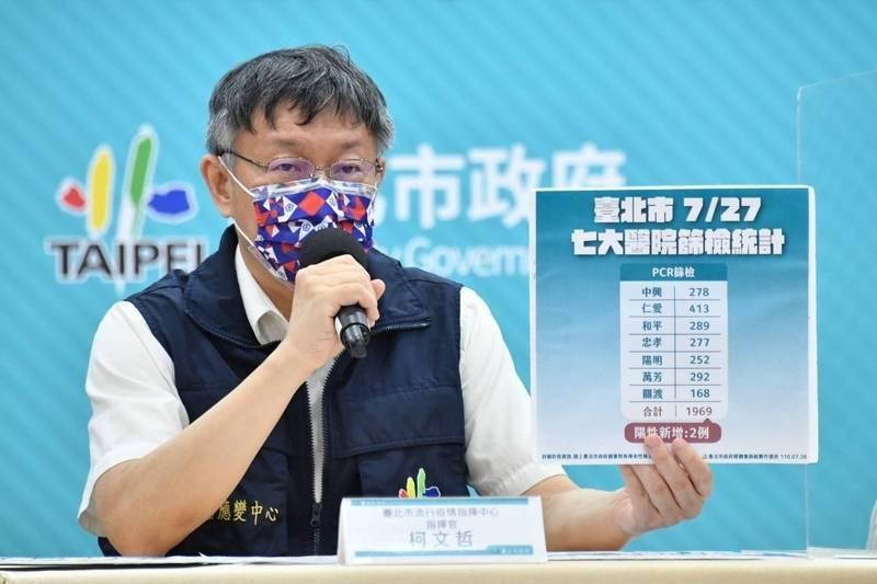 台北市長柯文哲出席防疫記者會。(資料照,北市府提供)