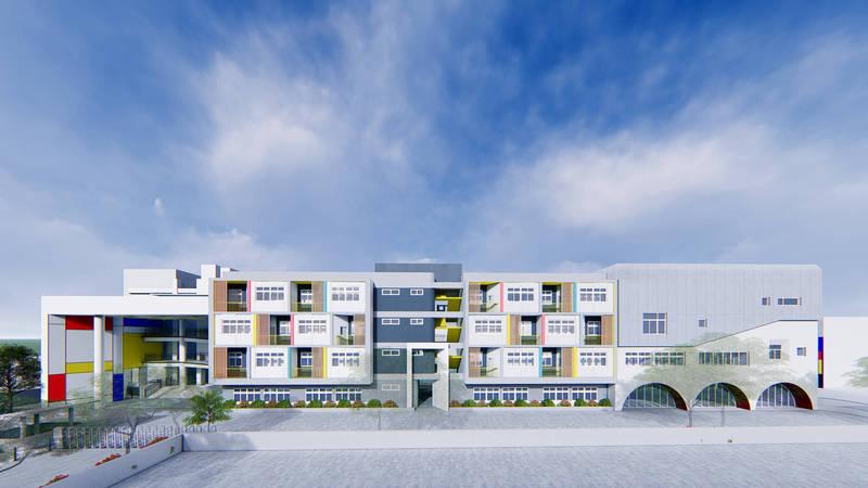 桃園市桃園區南門國小將拆除老舊校舍,新建地上4層的新校舍大樓。此為新校舍大樓示示意圖。(桃園市政府工務局提供)