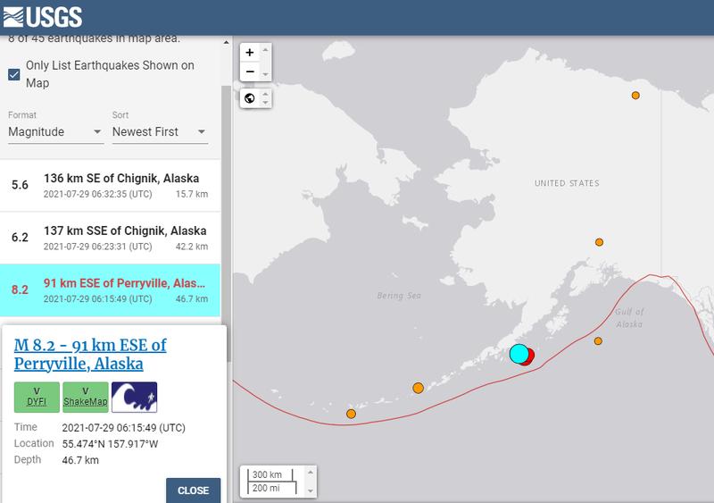 美國地質調查局(USGS)公布的觀測數據,台灣時間今日下午2時15分許,美國阿拉斯加州佩里維爾(Perryville)東南東方91公里近海發生芮氏規模8.2強震。(擷取自USGS)