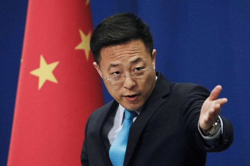 中國外交部發言人趙立堅(見圖)今日在記者會上指稱英國《BBC》散播假新聞。(美聯社)