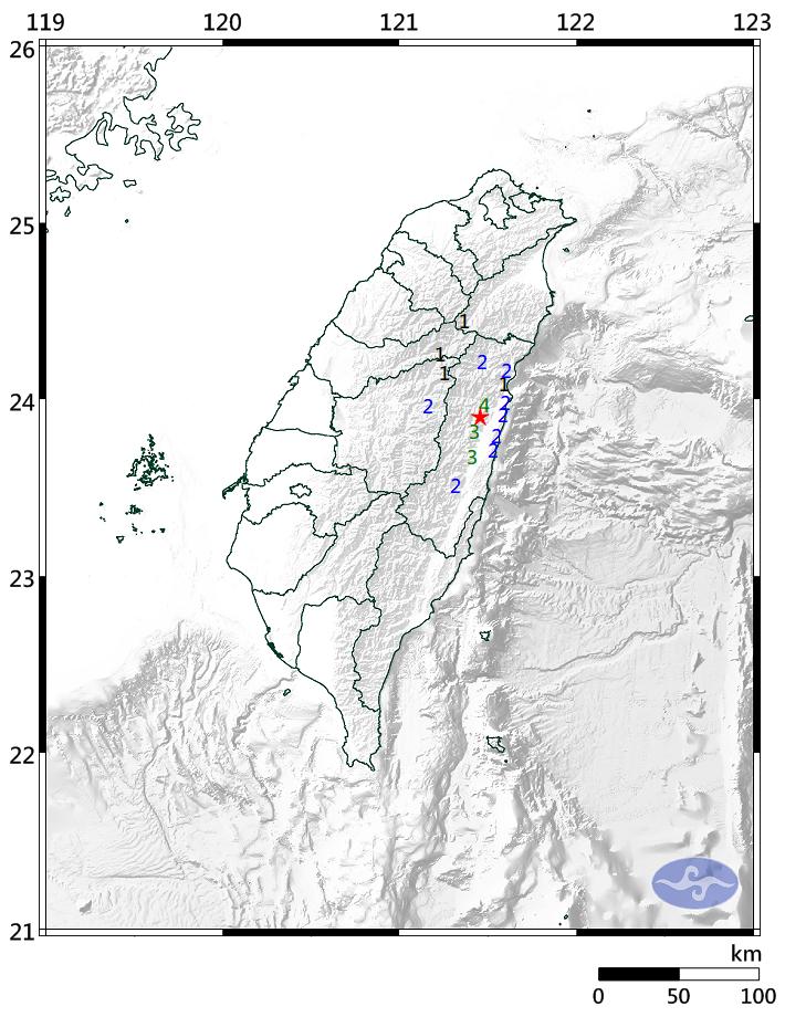 花蓮縣今晚11點21分發生地震,芮氏規模4.1,最大震度在花蓮為4級。(圖擷取自中央氣象局)