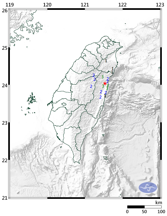 花蓮縣今天晚間6點41分發生地震,芮氏規模4.0,最大震度在花蓮為3級。(圖擷取自中央氣象局)