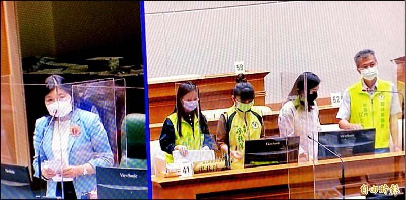 雲林縣議員施打疫苗誰爭取的?雲林縣長張麗善(左圖)在議會回答縣議員蔡孟真(右圖右二)質詢時表示:「我只答應快篩。」(記者詹士弘攝)