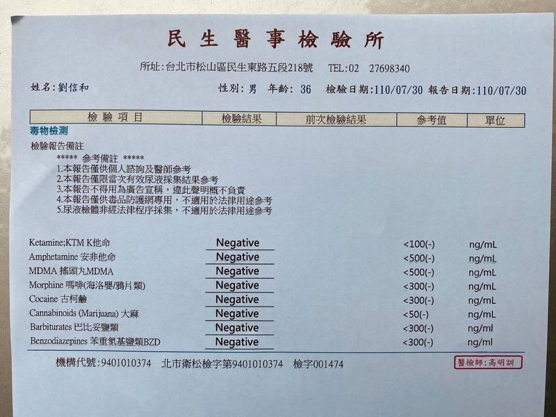 劉信和公布自己檢驗報告證明清白。(記者劉慶侯翻攝自劉信和臉書)