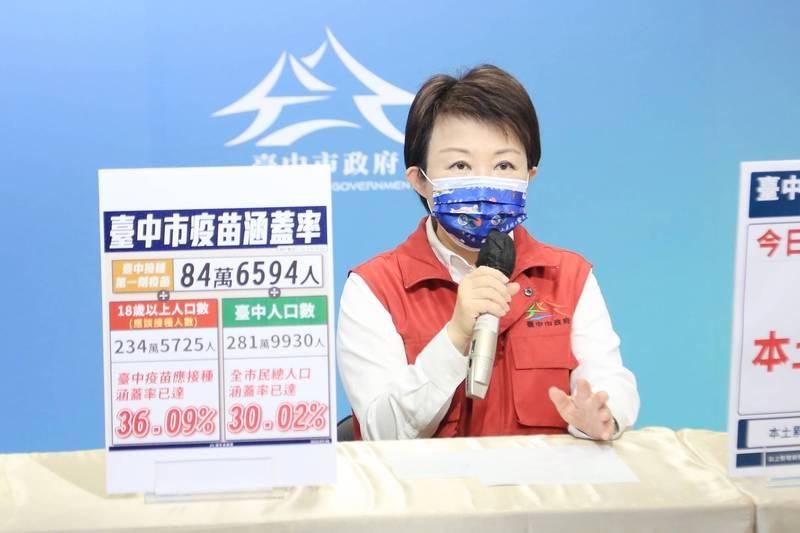 盧秀燕說明疫苗施打情形,要為長者爭取快打站施打。(台中市政府提供)