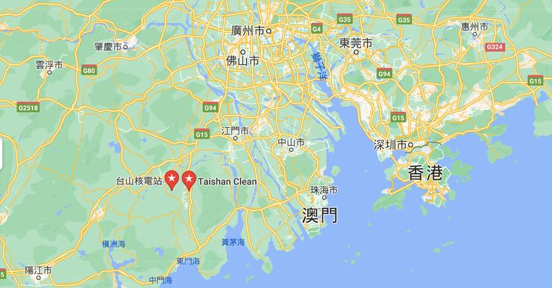 台山核電廠距離澳門僅有64公里。(擷取自Google Map)