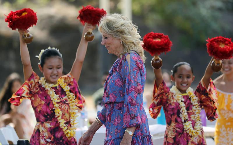 美國第一夫人吉兒(Jill Biden)上週結束東京奧運開幕式的行程後前往夏威夷。(美聯社資料照)
