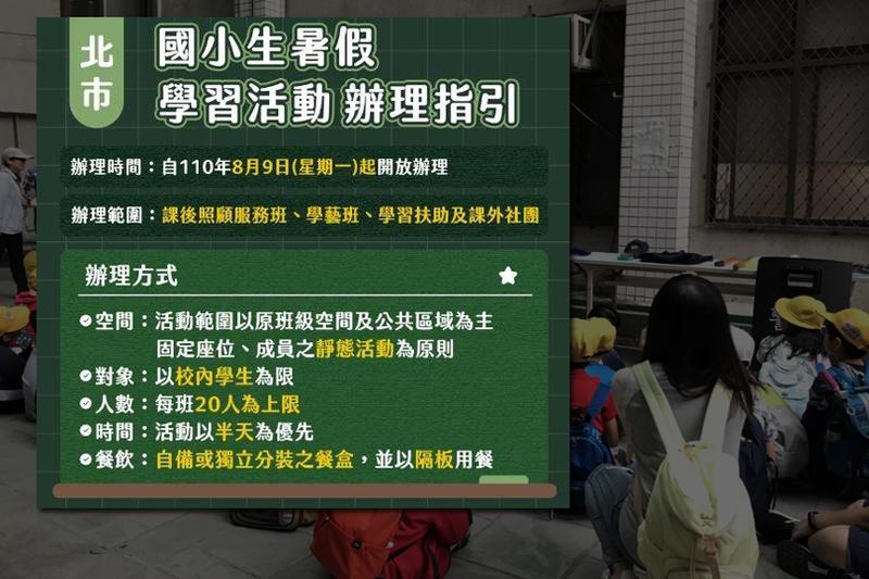 台北市國小暑期活動辦理防疫指引。(本報合成)