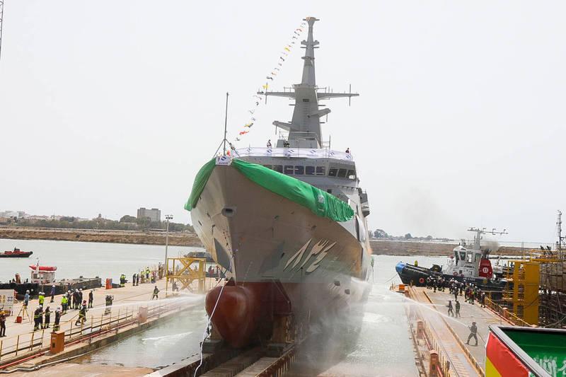沙烏地阿拉伯皇家海軍第四艘護衛艦「賈贊號」,已於當地時間24日正式下水。(圖翻攝自納凡蒂亞造船廠官網)
