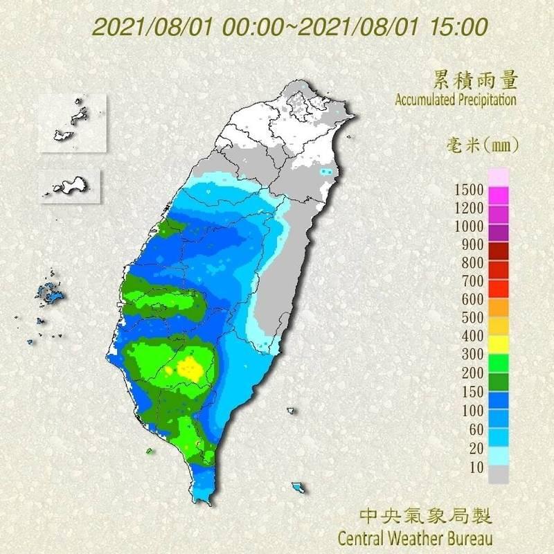 西南氣流週末發威,台南、高雄、屏東昨天至今已經觀測到大豪雨等級雨勢,累積將近400毫米雨量。(中央氣象局提供)