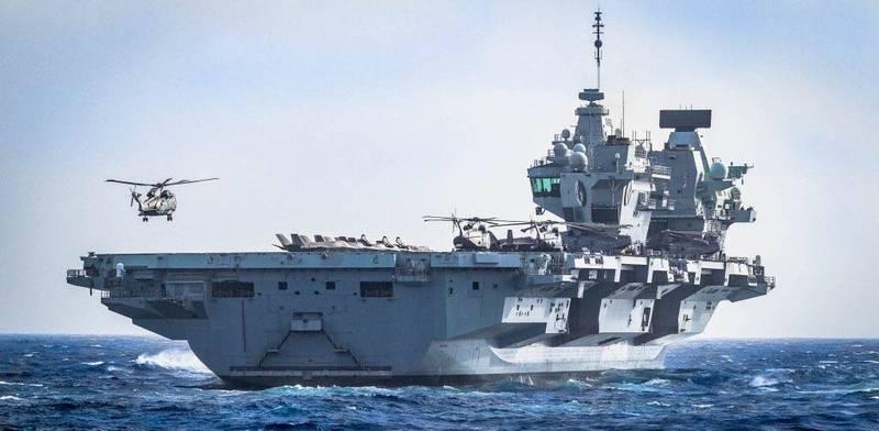 英國皇家海軍伊莉莎白女王號航空母艦(見圖)打擊群1日已抵達菲律賓海。(圖擷取自Commander UK Carrier Strike推特)