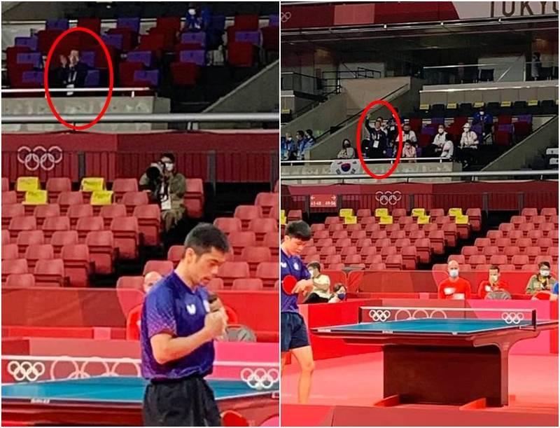 謝長廷今天到場幫台灣桌球男團加油,因為被帶到對手座位區,因此只有他一個人在為台灣隊加油。(圖翻攝自謝長廷臉書)
